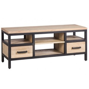 Forge Iron and White Wash Oak Small TV Media Unit