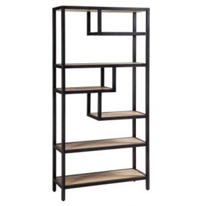 Forge Iron and White Wash Oak Tall Large Open Shelf Rack