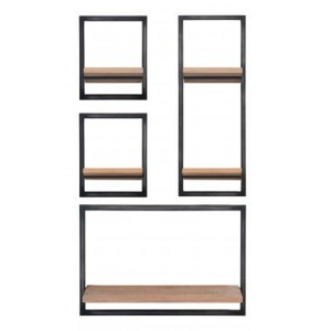 Forge Iron and White Wash Oak Tall Large Wall Display Unit KD