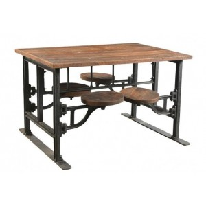 Handicrafts Industrial Furniture Iron and Wood Four Seater Dining Table with Adjustable Swivel Seating