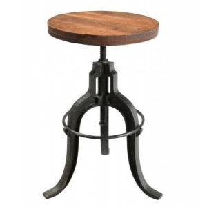 Handicrafts Industrial Furniture Upcycled Adjustable Stool with Wooden Seat