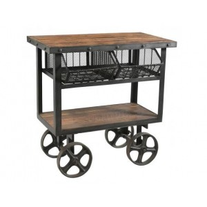 Handicrafts Industrial Furniture Iron and Reclaimed Timber Trolley With 2 Metal Baskets