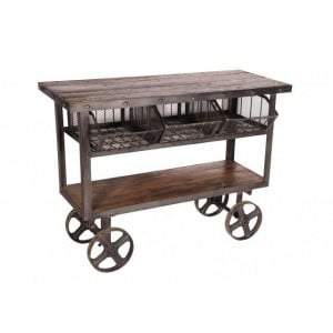 Handicrafts Industrial Furniture Iron and Reclaimed Timber Trolley With 3 Metal Baskets