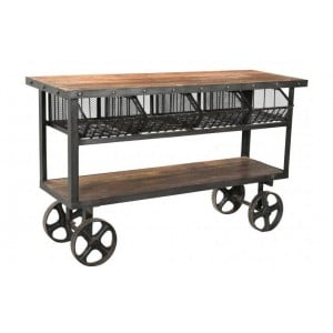 Handicrafts Industrial Furniture and Reclaimed Timber Trolley With 4 Metal Baskets