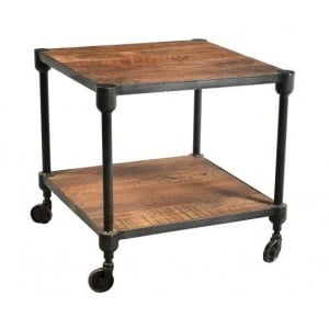 Handicrafts Industrial Furniture Iron and Reclaimed Wood Side Table