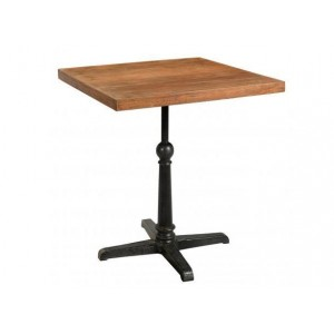 Handicrafts Industrial Furniture Square Iron and Reclaimed Timber Cafe Pedestal Table