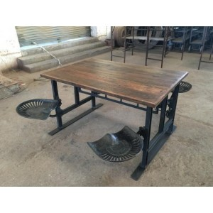 Handicrafts Industrial Furniture Four Seater Iron and Wood Dining Table with Adjustable Massey Ferguson Seating