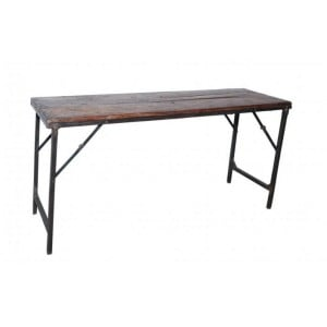 Handicrafts Industrial Furniture Iron and Wood Folding Bar Table