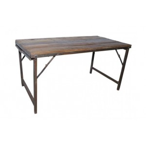 Handicrafts Industrial Furniture Iron And Wood Folding Dining Table