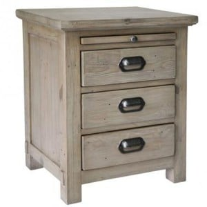 Homestead Recycled Pine Grey Furniture 3 Drawer Bedside Table