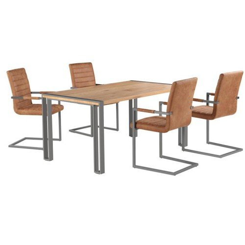 Oslo Furniture Dining Table Set with 4 Brown Leather Dining Chair