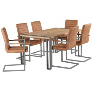 Oslo Furniture Dining Table Set with 6 Brown Leather Dining Chair