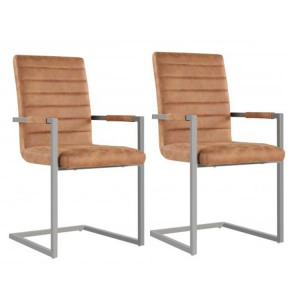 Oslo Furniture Brown Leather Dining Chair Pair Metal Frame