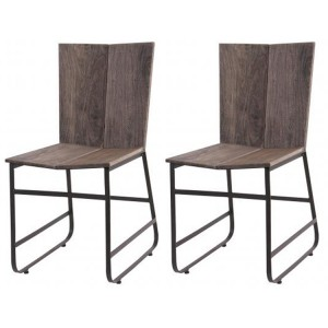 Oslo Furniture Sandblasted Grey Casting Dining Chair Pair