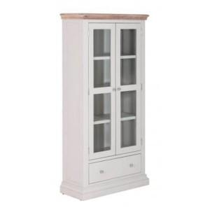 Rosa Light Grey Painted Furniture 1 Drawer 2 Door Glazed Display Cabinet