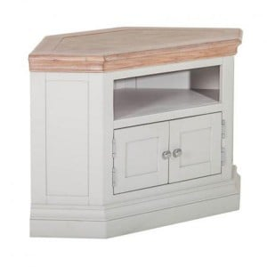 Rosa Light Grey Painted Furniture 2 Doors Corner TV Unit with 2 Shelves