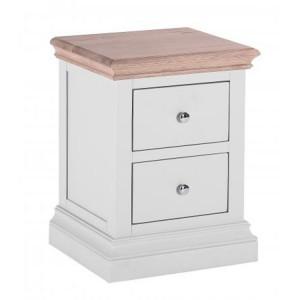 Rosa Light Grey Painted Furniture 2 Drawer Bedside Cabinet
