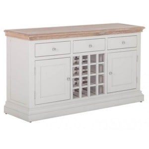Rosa Light Grey Painted Furniture 3 Drawer 2 Door Wine Table