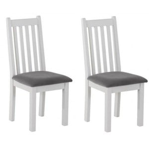 Rosa Light Grey Painted Furniture Asphalt Fabric Dining Chair Pair