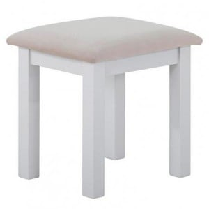Rosa Light Grey Painted Furniture Platinum Fabric Seat Dressing Stool