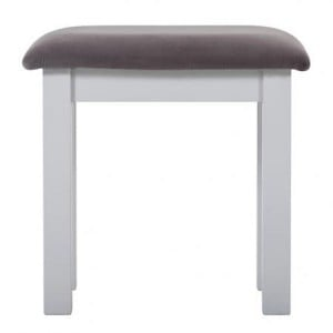 Rosa Light Grey Painted Furniture Plush Slate Fabric Dressing Stool