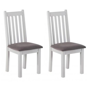 Rosa Light Grey Painted Furniture Mole Fabric Dining Chair Pair