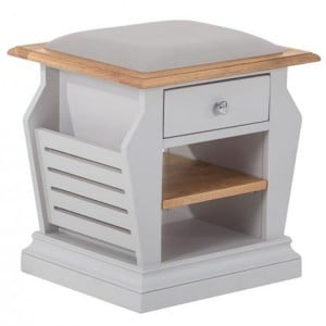 Rosa Light Grey Painted Furniture Organiser Plush Platinum Fabric Stool