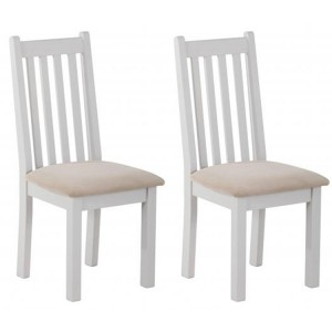 Rosa Light Grey Painted Furniture Platinum Fabric Dining Chair Pair