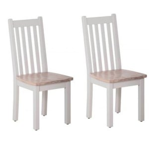 Rosa Light Grey Painted Furniture Timber Seat Dining Chair Pair