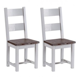 The Hamptons Pine Furniture Dining Chair with Timber Seat Pair