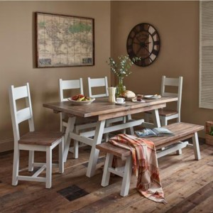 The Hamptons Pine Furniture Hamptons Dining Set 1 Table with 2 Benches