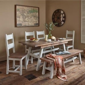 The Hamptons Pine Furniture Hamptons Dining Set 1 Table with 6 Chairs