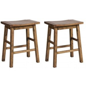 Pair of Urban Loft Reclaimed Pine Rustic Furniture Stool With 4 Leg Rest