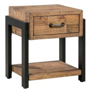 Urban Loft Reclaimed Pine Rustic Furniture 1 Drawer Lamp Table with Shelf
