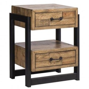 Urban Loft Reclaimed Pine Rustic Furniture 2 Drawer Nightstand