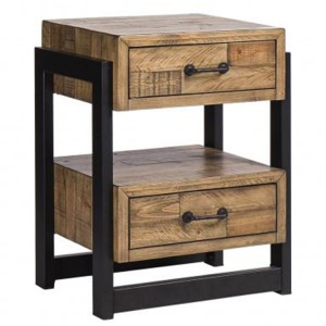 Urban Loft Reclaimed Pine Rustic Furniture 2 Drawer Nightstand