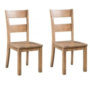 Pair of Urban Loft Reclaimed Pine Rustic Furniture Dining Chair with Timber Seat