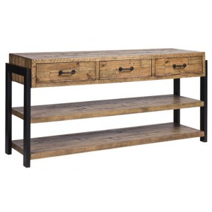 Urban Loft Reclaimed Pine Rustic Furniture Large 3 Drawer Buffet Sideboard