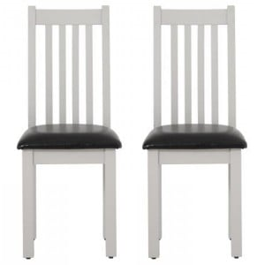 Pair of Vancouver Compact Light Grey Painted Furniture Dining Chair with Bi-Cast Leather Seat