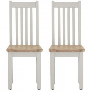 Pair of Vancouver Compact Light Grey Painted Furniture Dining Chair with Timber Seat