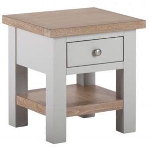 Vancouver Compact Light Grey Painted Furniture 1 Drawer Side Table with Shelf