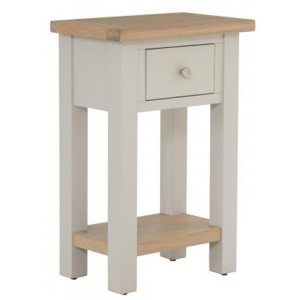 Vancouver Compact Light Grey Painted Furniture 1 Drawer Telephone Table with Shelf