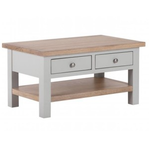 Vancouver Compact Light Grey Painted Furniture 2 Drawer Coffee Table with Shelf