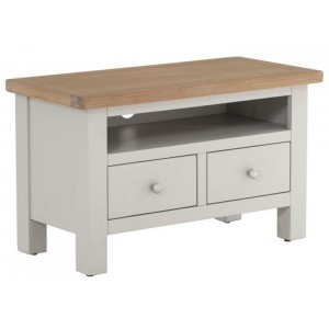 Vancouver Compact Light Grey Painted Furniture 2 Drawer TV Unit