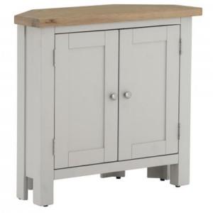 Vancouver Compact Light Grey Painted Furniture Corner 2 Door Cupboard