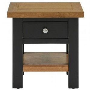 Vancouver Compact Painted Black Grey Furniture 1 Drawer Side Table with Shelf