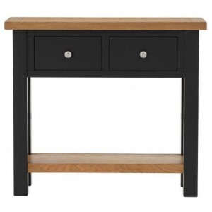 Vancouver Compact Painted Black Grey Furniture 2 Drawer Console Table with Shelf
