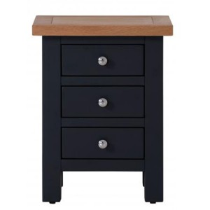 Vancouver Compact Painted Black Grey Furniture 3 Drawer Bedside Cabinet