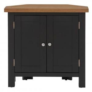 Vancouver Compact Painted Black Grey Furniture Corner 2 Door Cupboard