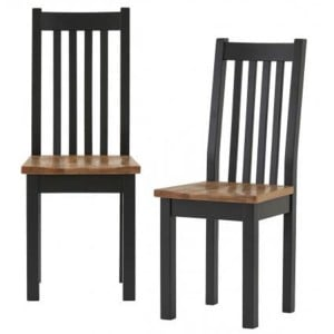 Pair of Vancouver Compact Painted Black Grey Furniture Dining Chair with Timber seat